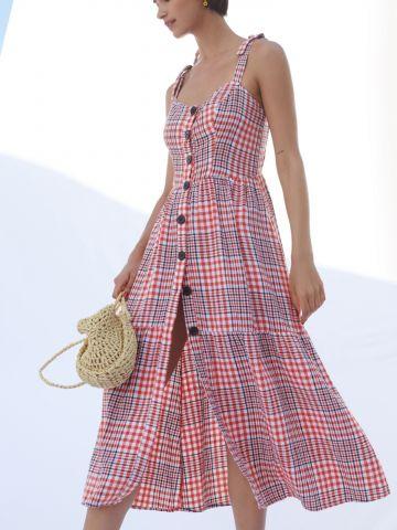 שמלת מידי פשתן בהדפס משבצות עם כפתורים UO