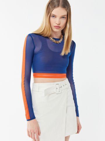 חולצת רשת קרופ קולור בלוק UO