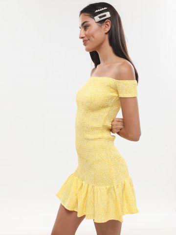 שמלת מיני אוף שולדרס עם סיומת פפלום