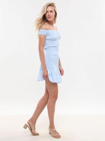 שמלת מיני כיווצים בהדפס עלים פפלום