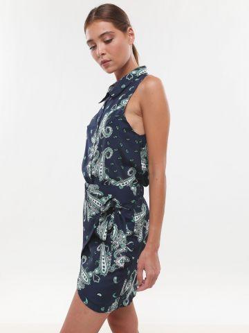 חצאית מיני מעטפת בהדפס פייסלי