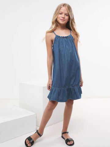 שמלת ג'ינס בסיומת פפלום
