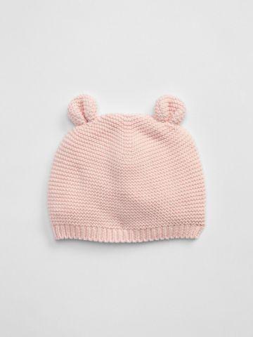 כובע סרוג עם אוזניים / בייבי בנות