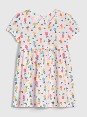 שמלה בהדפס אננס עם שרוולים קצרים / בייבי בנות