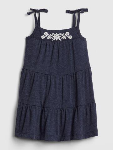 שמלת קומות עם עיטור רקמה / בייבי בנות