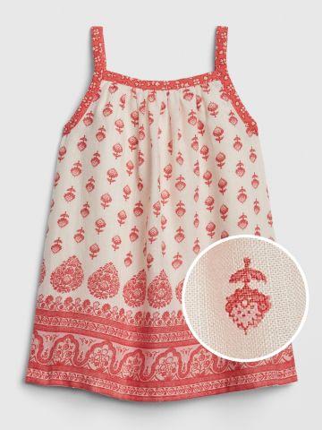 שמלה בהדפס פרחים ועיטורים / בייבי בנות