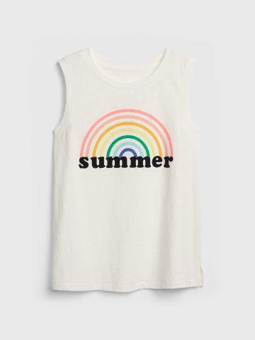 גופייה עם הדפס ריינבואו Summer / בנות