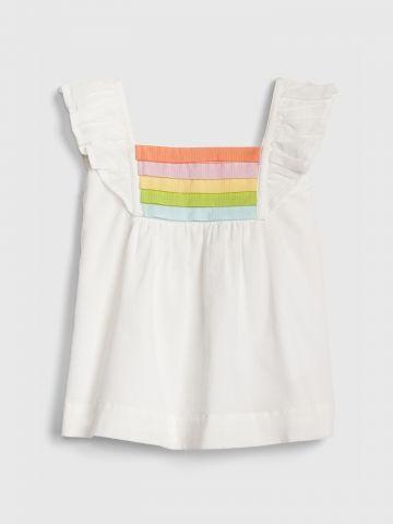 חולצה עם שרוולי מלמלה ריינבואו / בייבי בנות