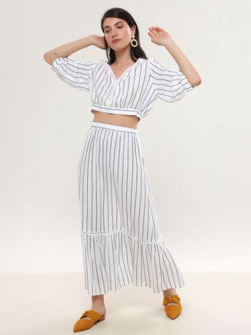 חצאית מקסי פפלום בהדפס פסים