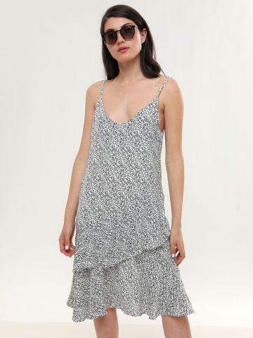 שמלת מידי שכבות מלמלה בהדפס טיפות