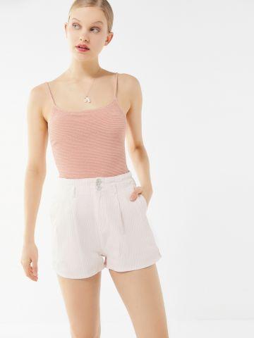 מכנסיים קצרים בהדפס פסים BDG