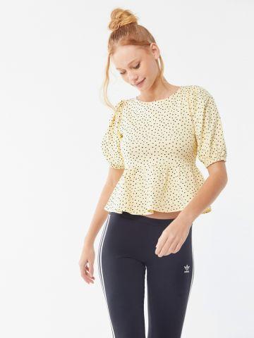 חולצת פפלום בהדפס נקודות בשילוב קשירה UO