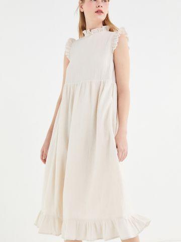 שמלת מידי מלמלה עם צווארון גבוה UO