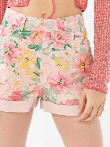 ג'ינס קצר בהדפס פרחים BDG