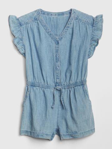 אוברול ג'ינס קצר עם מלמלה / בנות