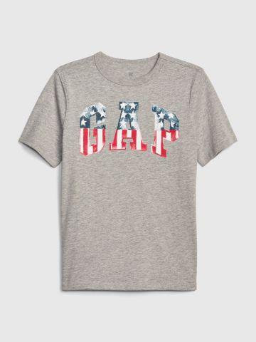 טי שירט לוגו דגל אמריקה / בנים
