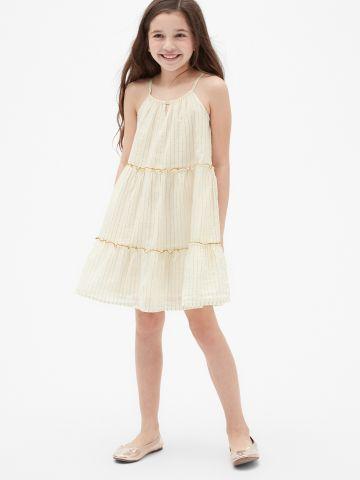 שמלת קומות בדוגמת פסים מטאליים