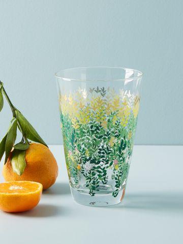 כוס זכוכית עם עיטור פרחים Paule Marrot