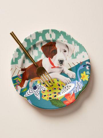 צלחת חרס עם הדפס כלב Jay McClellan Studio / קינוח