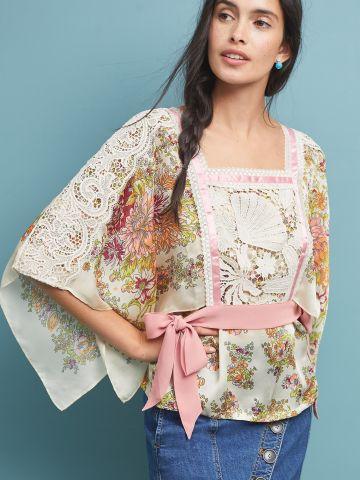חולצת קימונו בהדפס פרחים עם תחרה