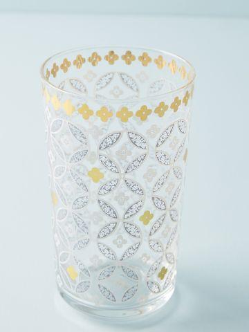 כוס זכוכית עם עיטורי פרחים וזהב של ANTHROPOLOGIE