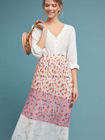 חצאית פליסה מידי בהדפס פרחים עם תחרה