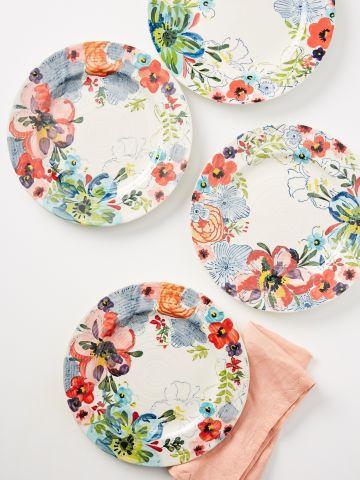 סט 4 צלחות חרס בדוגמת פרחים / עיקרית