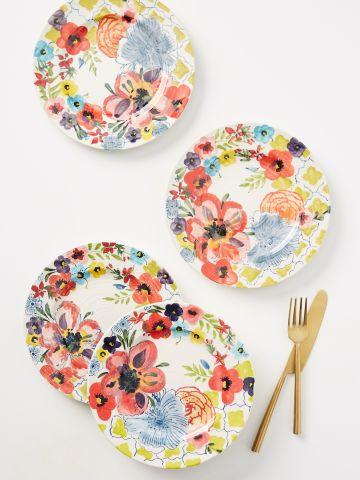 סט 4 צלחות חרס בדוגמת פרחים / מנה ראשונה