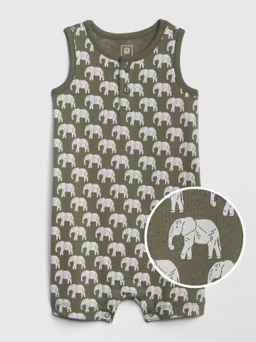 אוברול קצר בהדפס פילים / בייבי