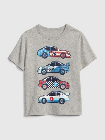 טי שירט מלאנז' עם הדפס מכוניות / בייבי בנים