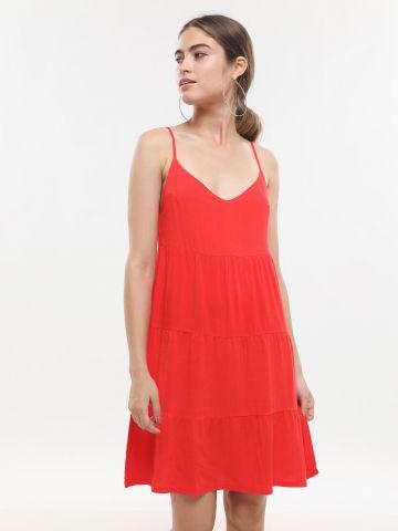 שמלת קומות מיני בשילוב פשתן