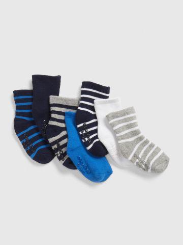 מארז 7 זוגות גרביים בהדפס פסים / בייבי בנים