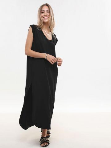 שמלת מקסי חלקה עם שסעים