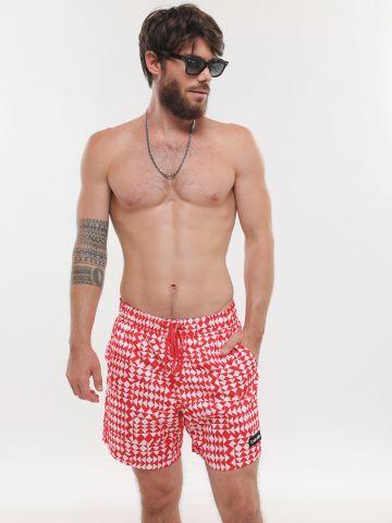 מכנסי בגד ים בהדפס גיאומטרי