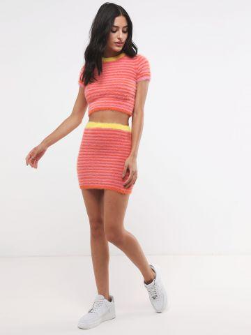 חצאית מיני פלאפי בדוגמת פסים