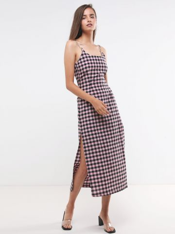 שמלת מקסי משבצות עם כתפיות שרשרת