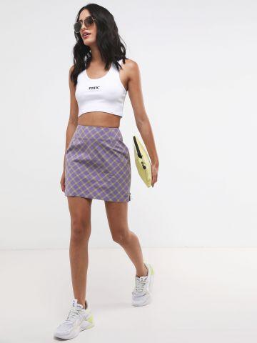 חצאית מיני בהדפס משבצות עם רוכסנים