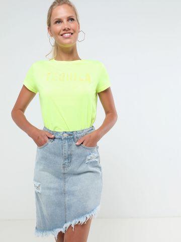 חצאית ג'ינס מידי אלכסונית