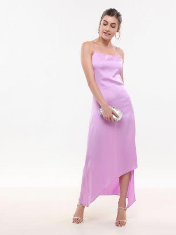שמלת סאטן מקסי אסימטרית
