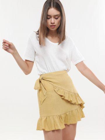 חצאית מיני פשתן בסגנון מעטפת