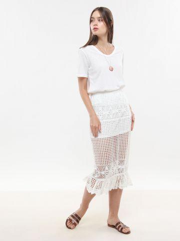חצאית מידי קרושה עם סיומת פפלום