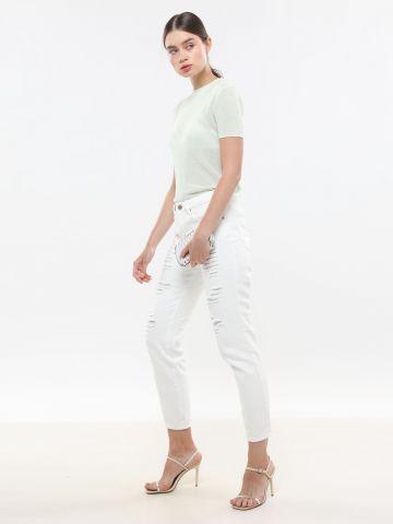 חולצת סריג דקיקה עם שרוולים קצרים