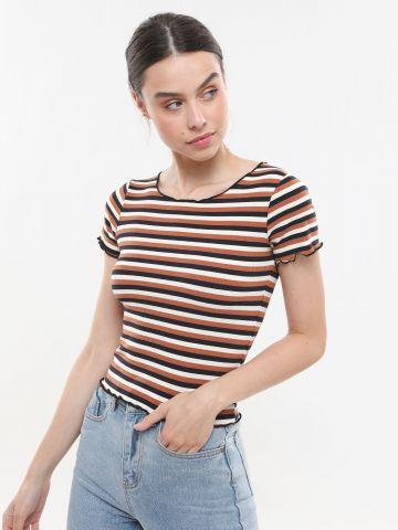 חולצת ריב פסים עם סיומת גלית