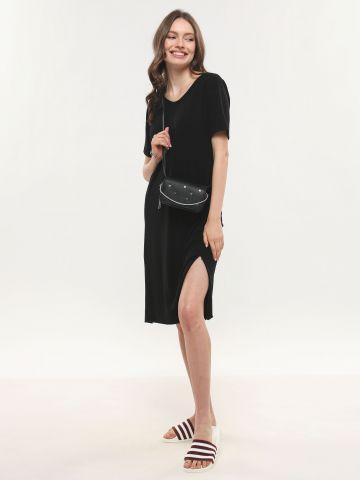 שמלת מידי סריג עם טוויסט של TERMINAL X