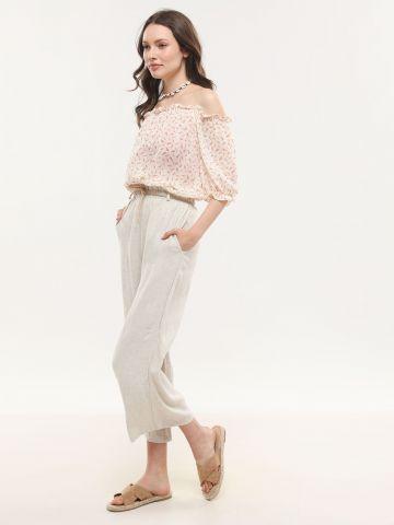 מכנסיים רחבים עם חגורת חבל