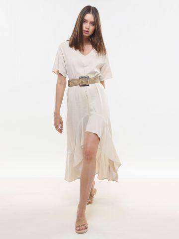 שמלת מידי אסימטרית פפלום