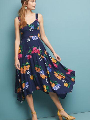 שמלת מידי אסימטרית בהדפס פרחים Maeve