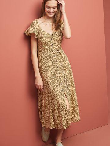 שמלת מידי בהדפס מנומר עם מלמלה