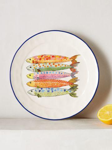 סט 4 צלחות חרס עם הדפס דגים / קינוח