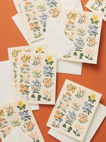מארז 8 כרטיסי ברכה בהדפס פרחים Thank you Rifle Paper Co